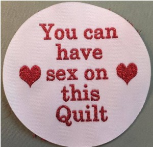 sex on this quilt lable